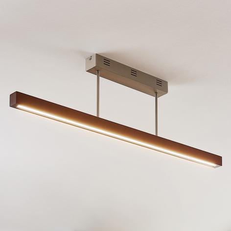 LED-Holz-Deckenleuchte Tamlin, dunkelbraun, dimmb.