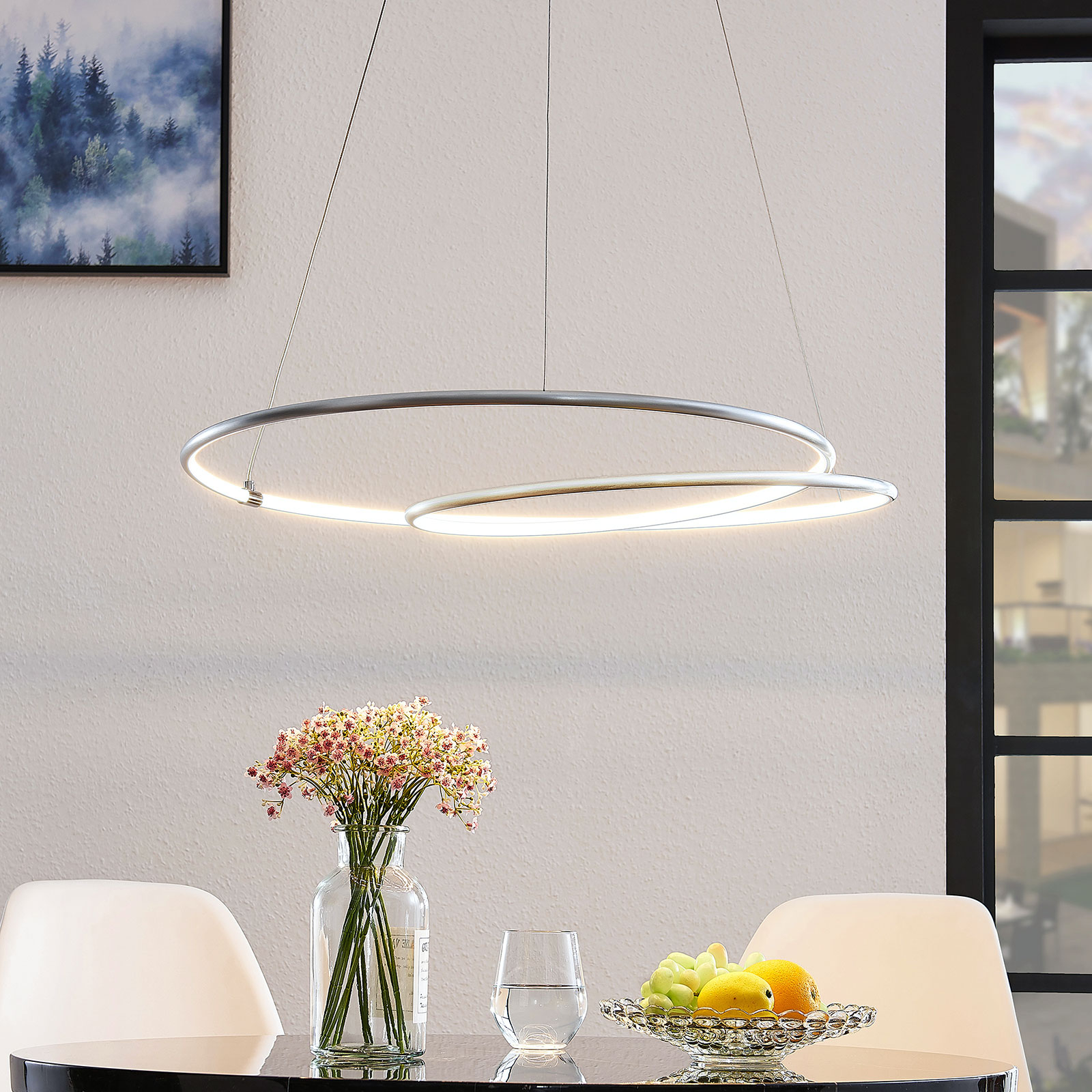 Lindby Lucy suspension LED, 70 cm, aluminium