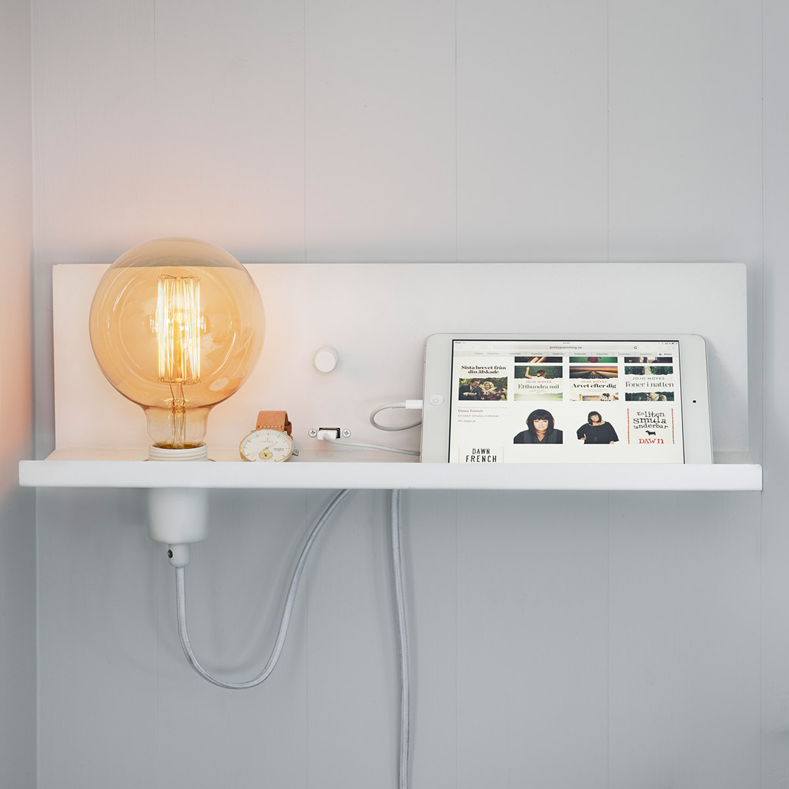 Met USB aansluiting - witte wandlamp Multi