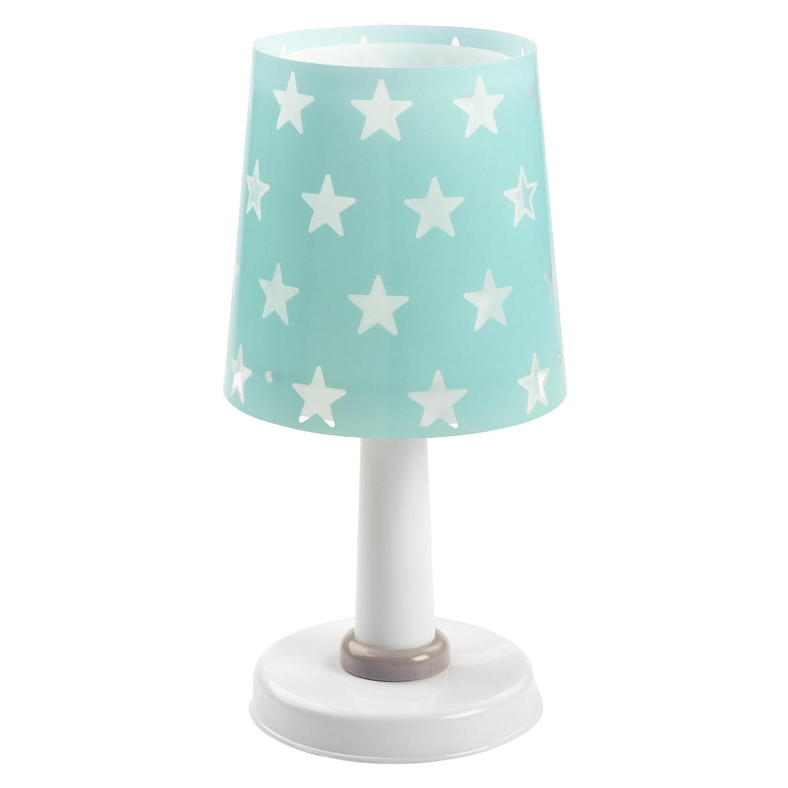 Turquoise-kleurige tafellamp Stars m. lichteffect