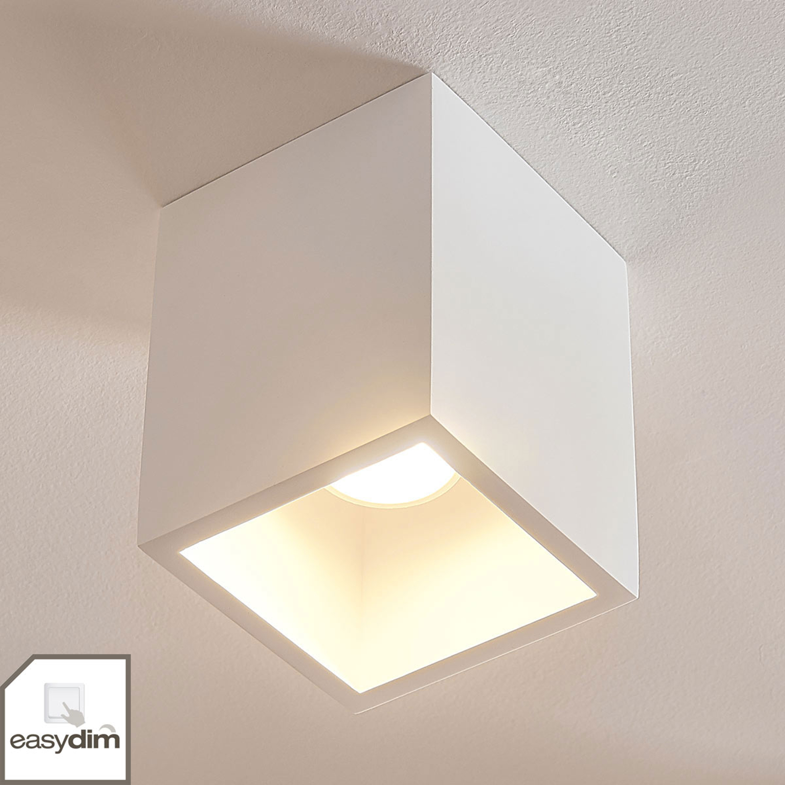 Quadratisches Gips-Downlight Natalie, easydim