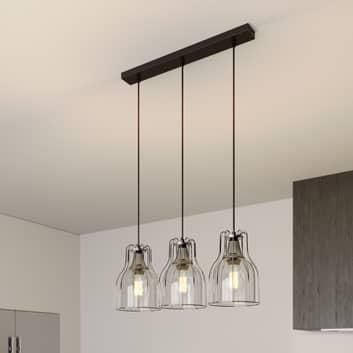 Hänglampa Aria 3 lampor klar/svart/krom