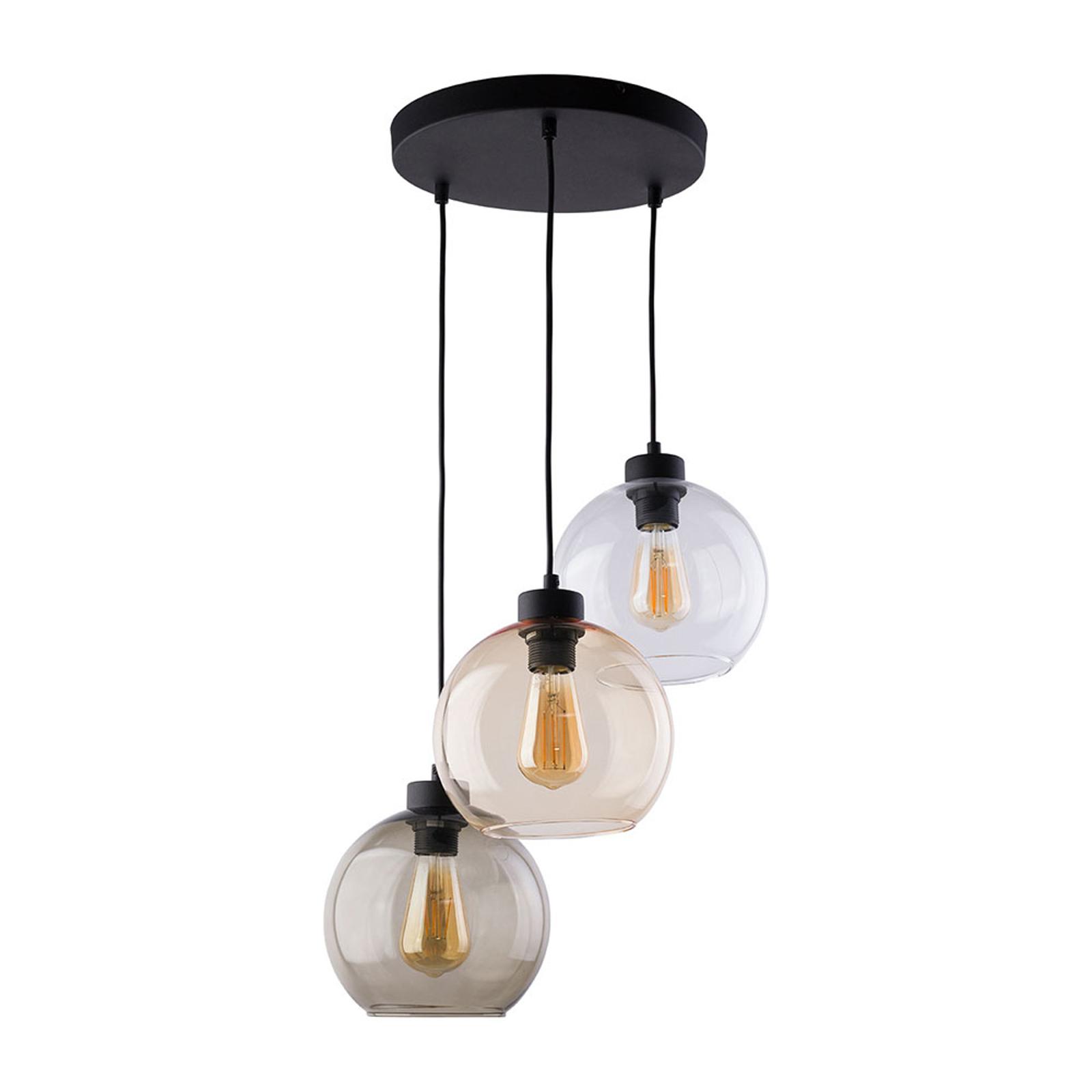 Suspension Cubus 3 lampes, transparente/miel/brune