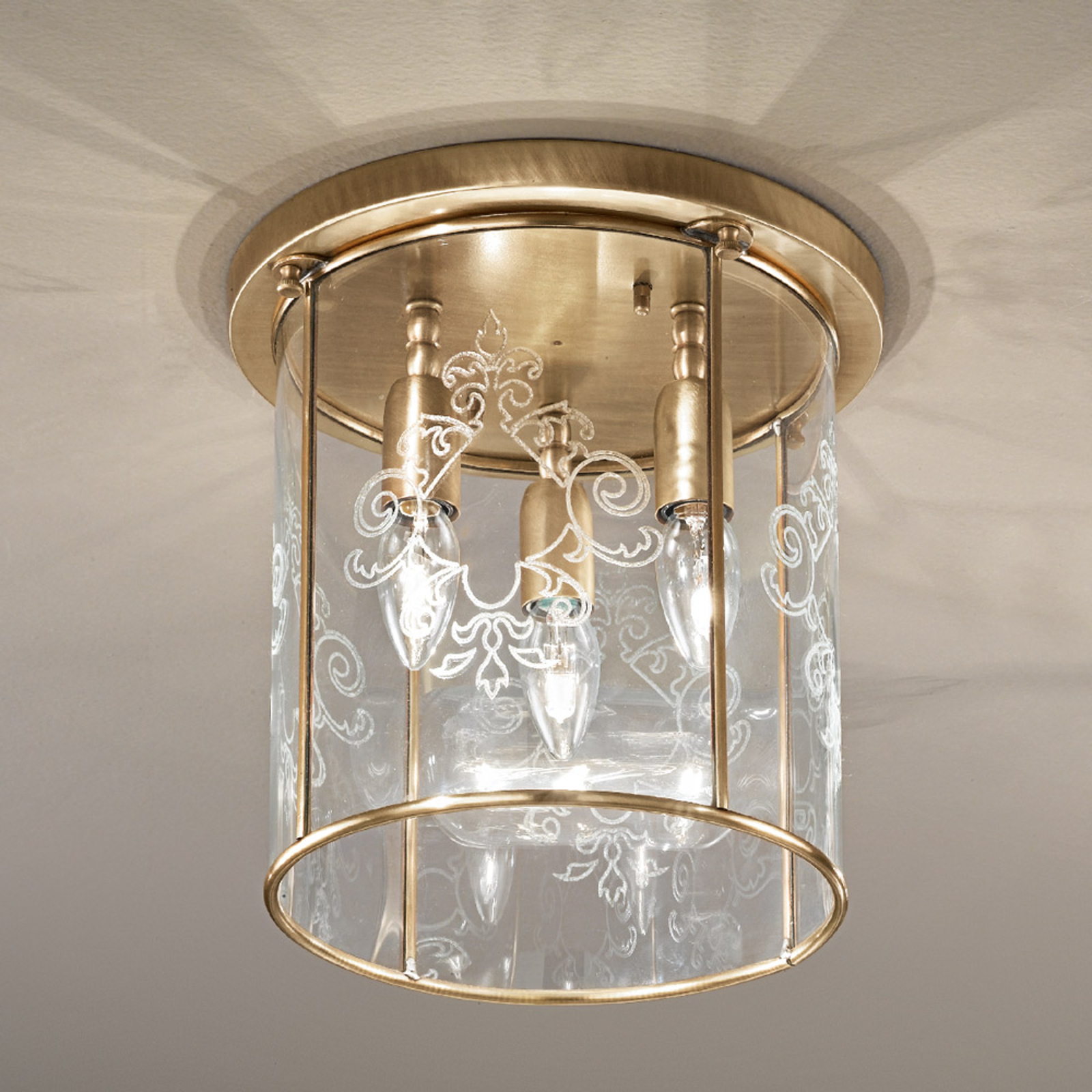 Lámpara de techo de bronce Greta, 3 luces