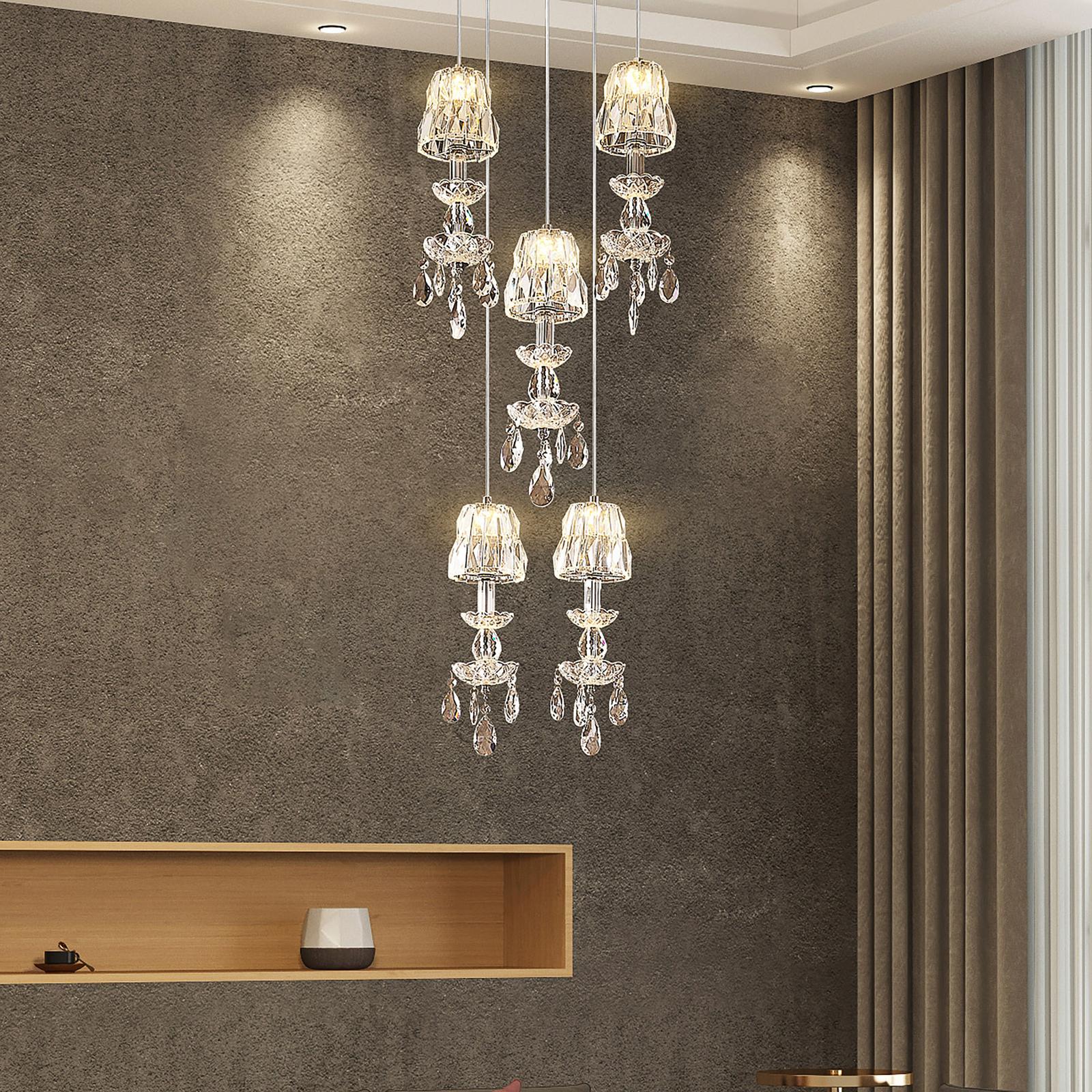 Lucande Yasanie LED-pendellampe, 5 lyskilder, rund
