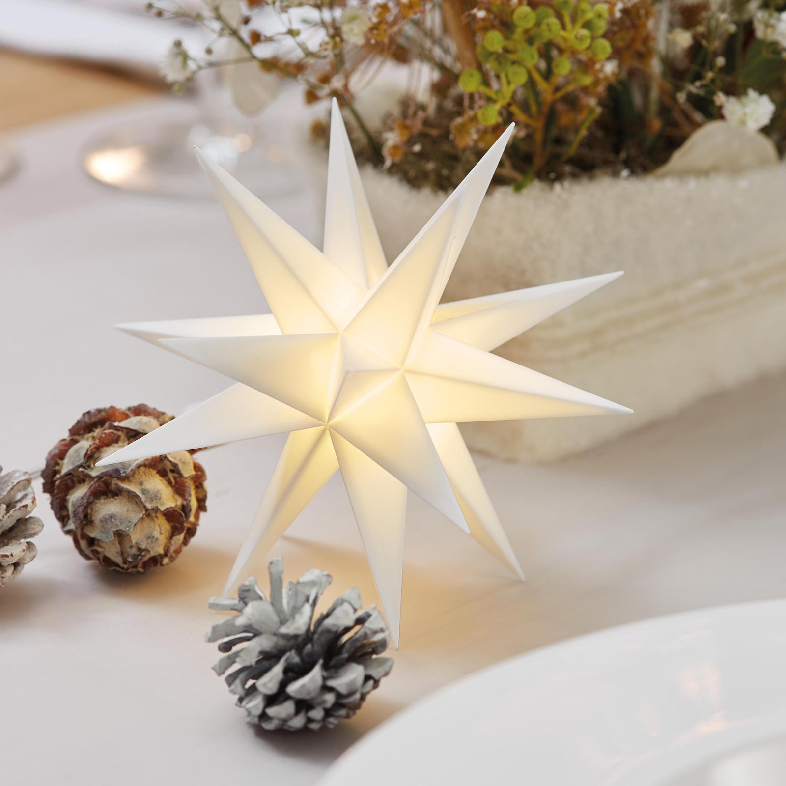 Indend. deko., 18-takket stjerne, Ø 12 cm, hvid