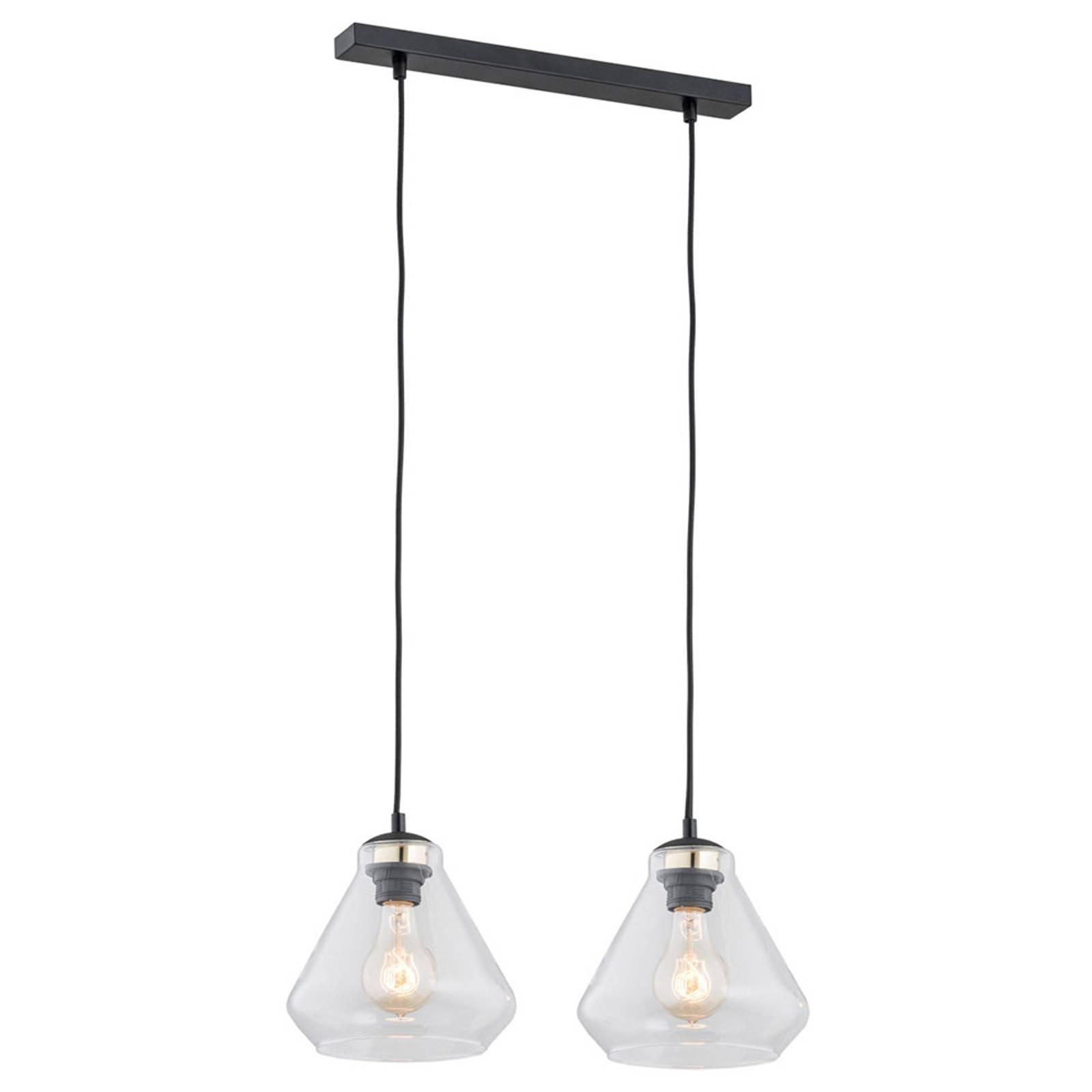 Suspension Destin à 2 lampes, transparente/noire