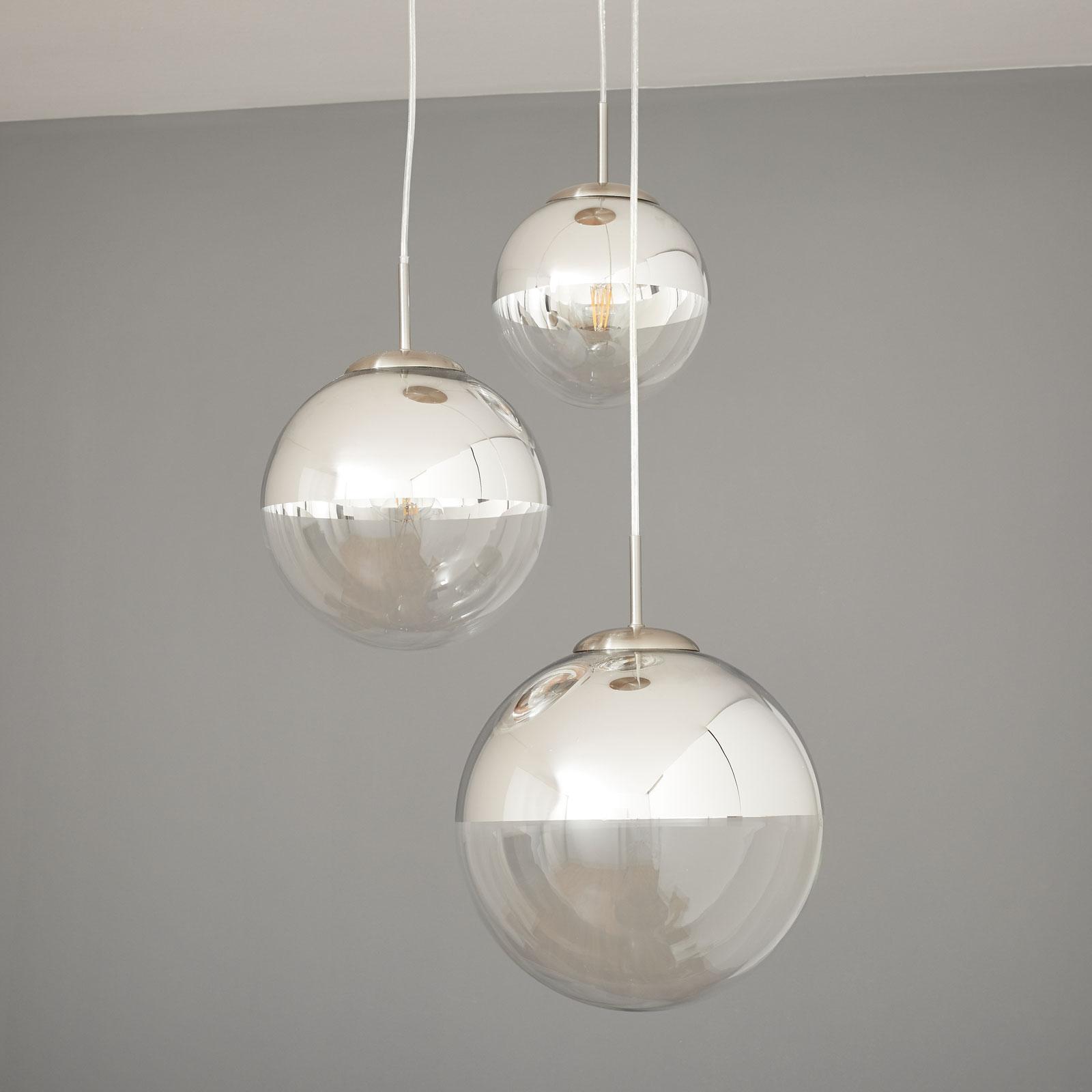 Hanglamp Ravena met glazen bollen, 3 lampen