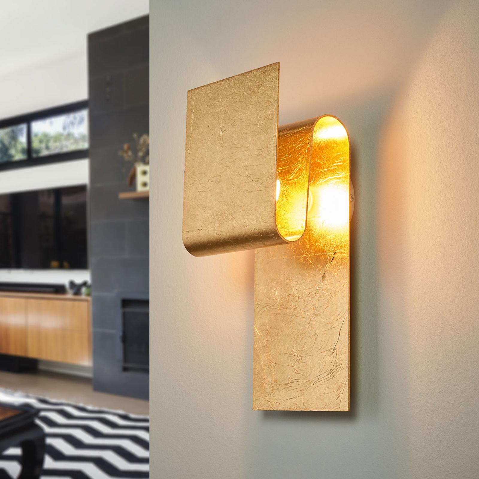 Escale Fold - væglampe beklædt med bladguld