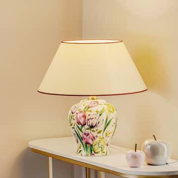 Menzel Living - lámpara de mesa con pie floral