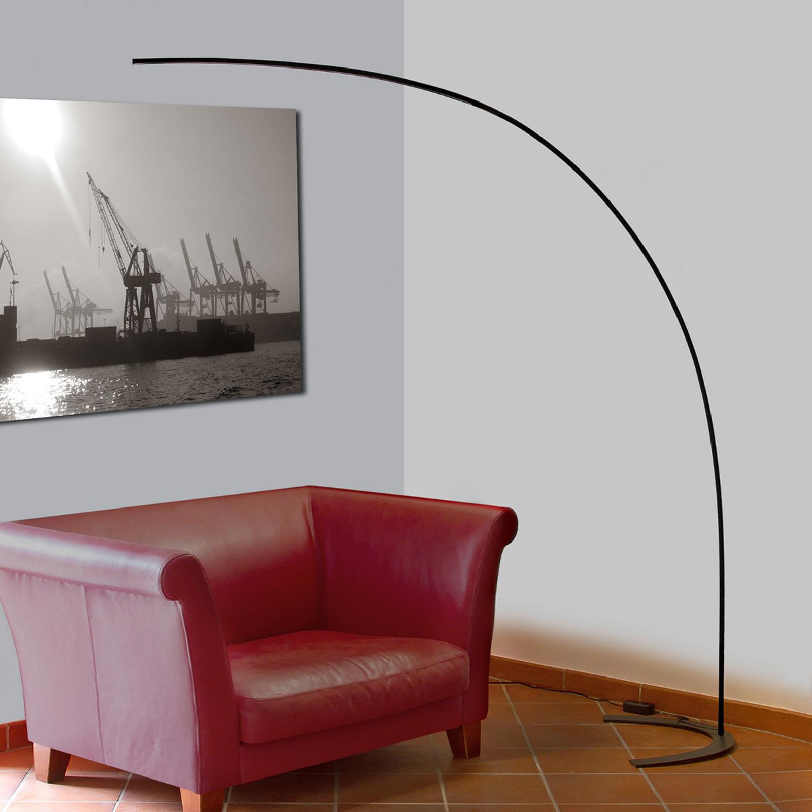 LED-boogvloerlamp Danua in het zwart