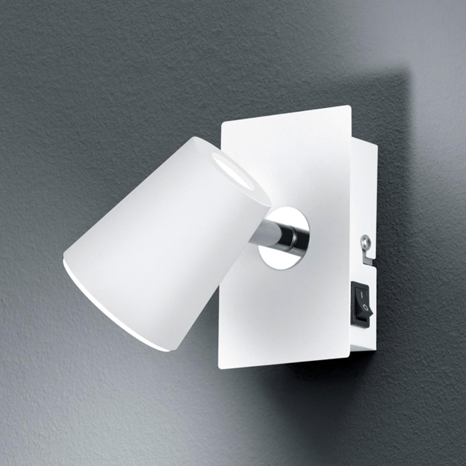 Weißer LED-Wandspot Narcos mit schwenkbarem Kopf