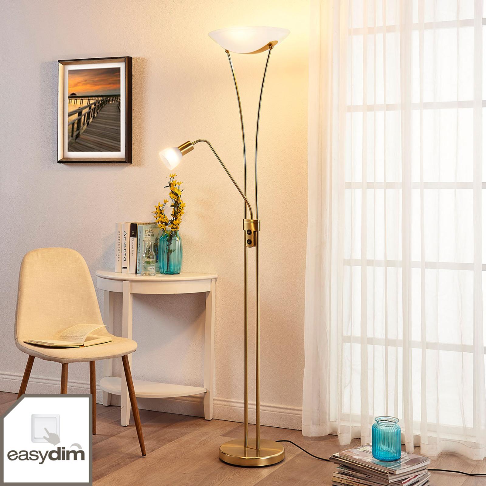 LED-uplight-golvlampa Felicia med läsarm - dimbar