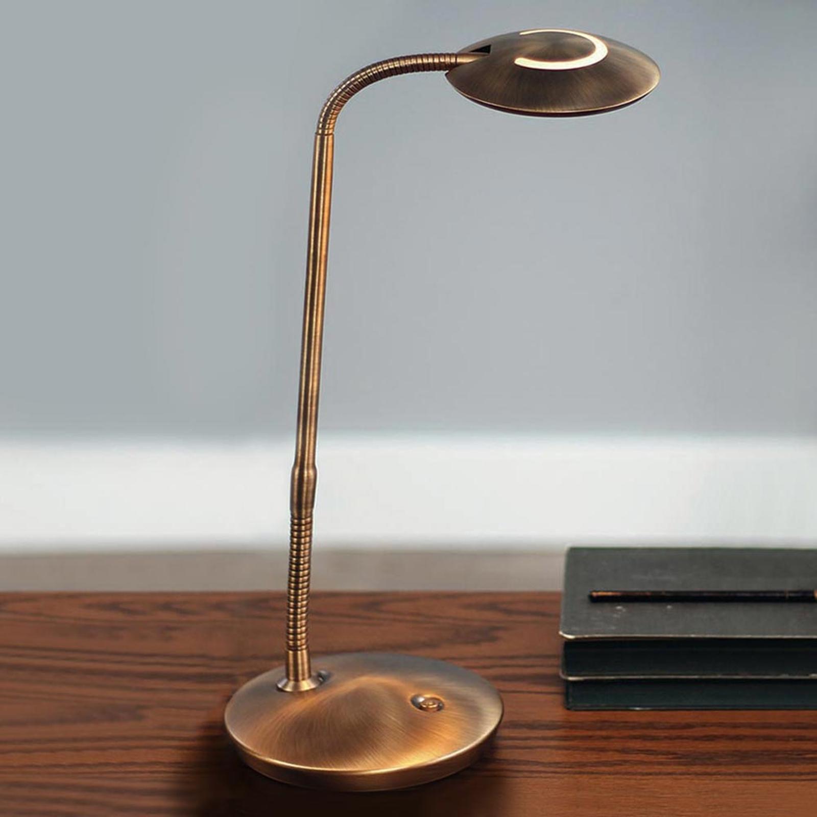 Ze ściemniaczem, lampa stołowa LED Zenith, brąz