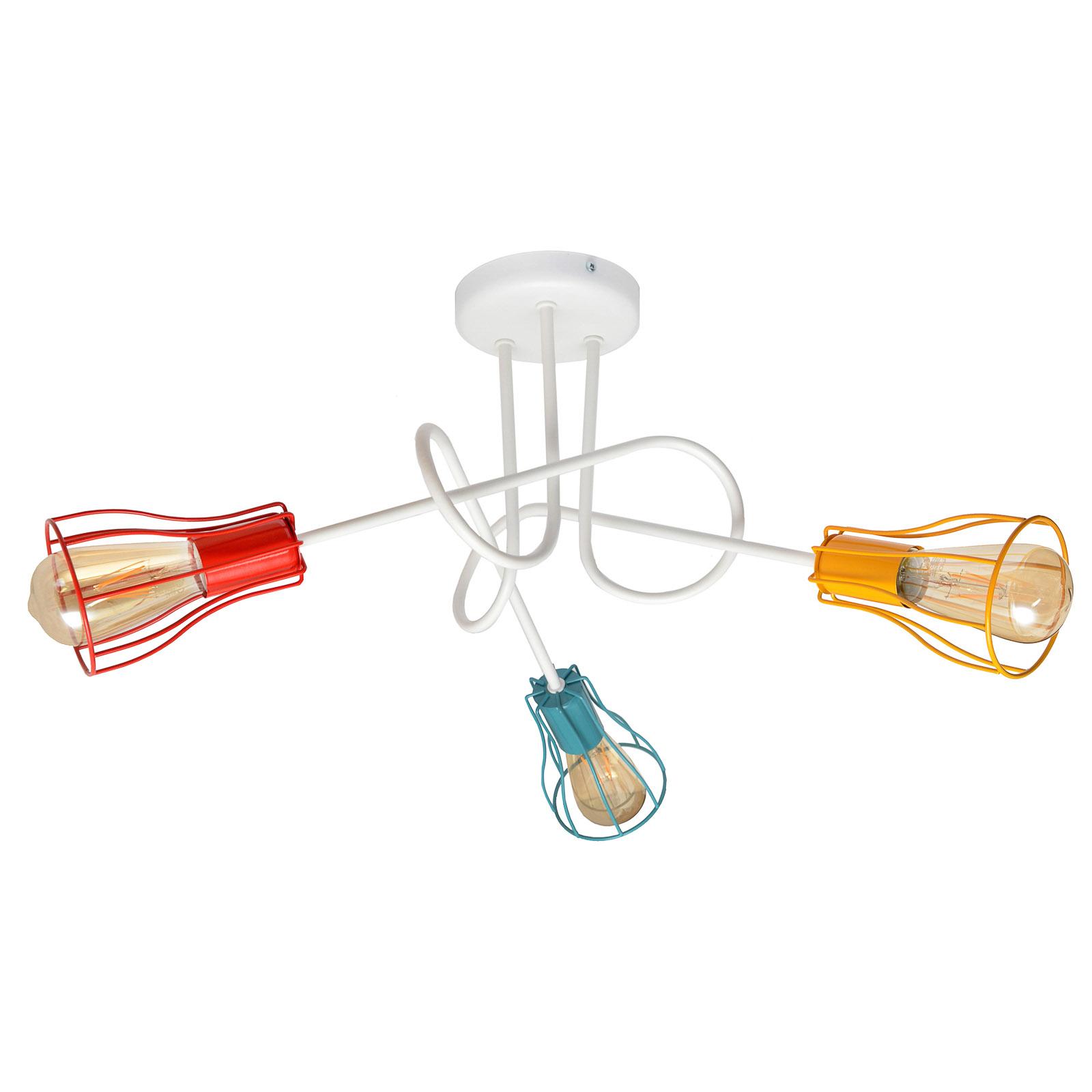 Taklampe Oxford, 3 lyskilder, rund, fargerik