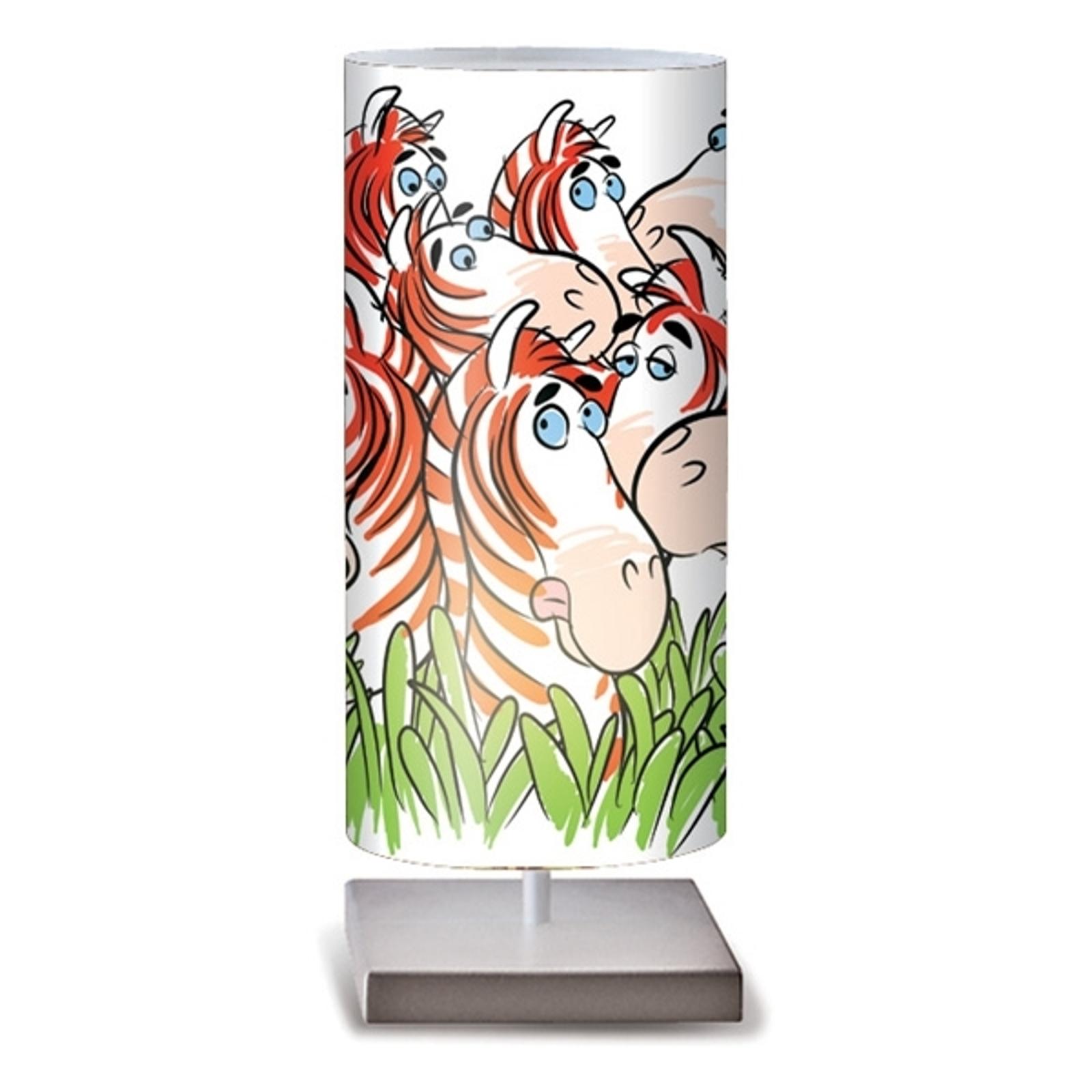 Färgglad bordslampa Zebre för badrummet