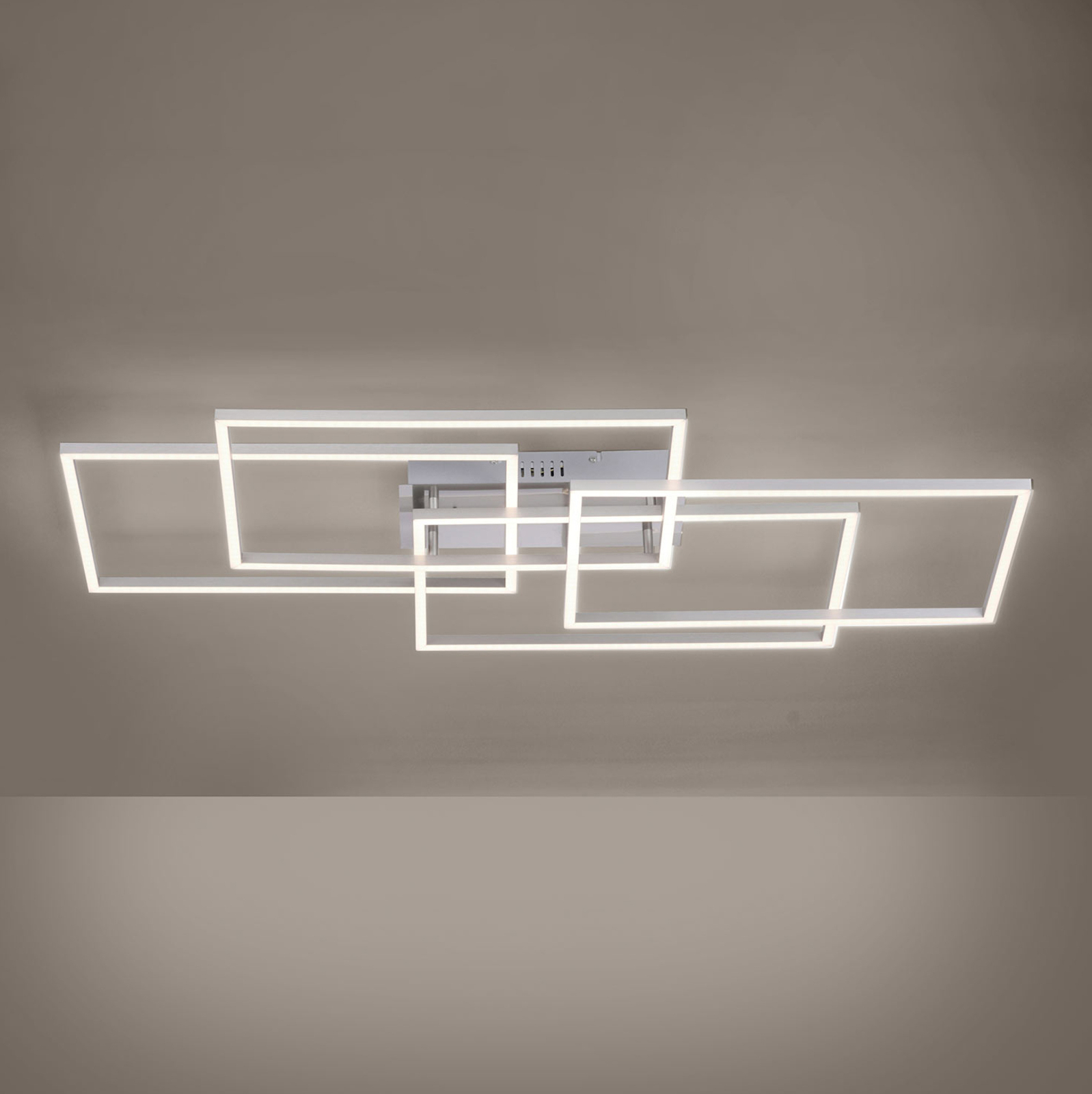 LED-Deckenleuchte Iven, stahl, 4-flammig, Quadrat