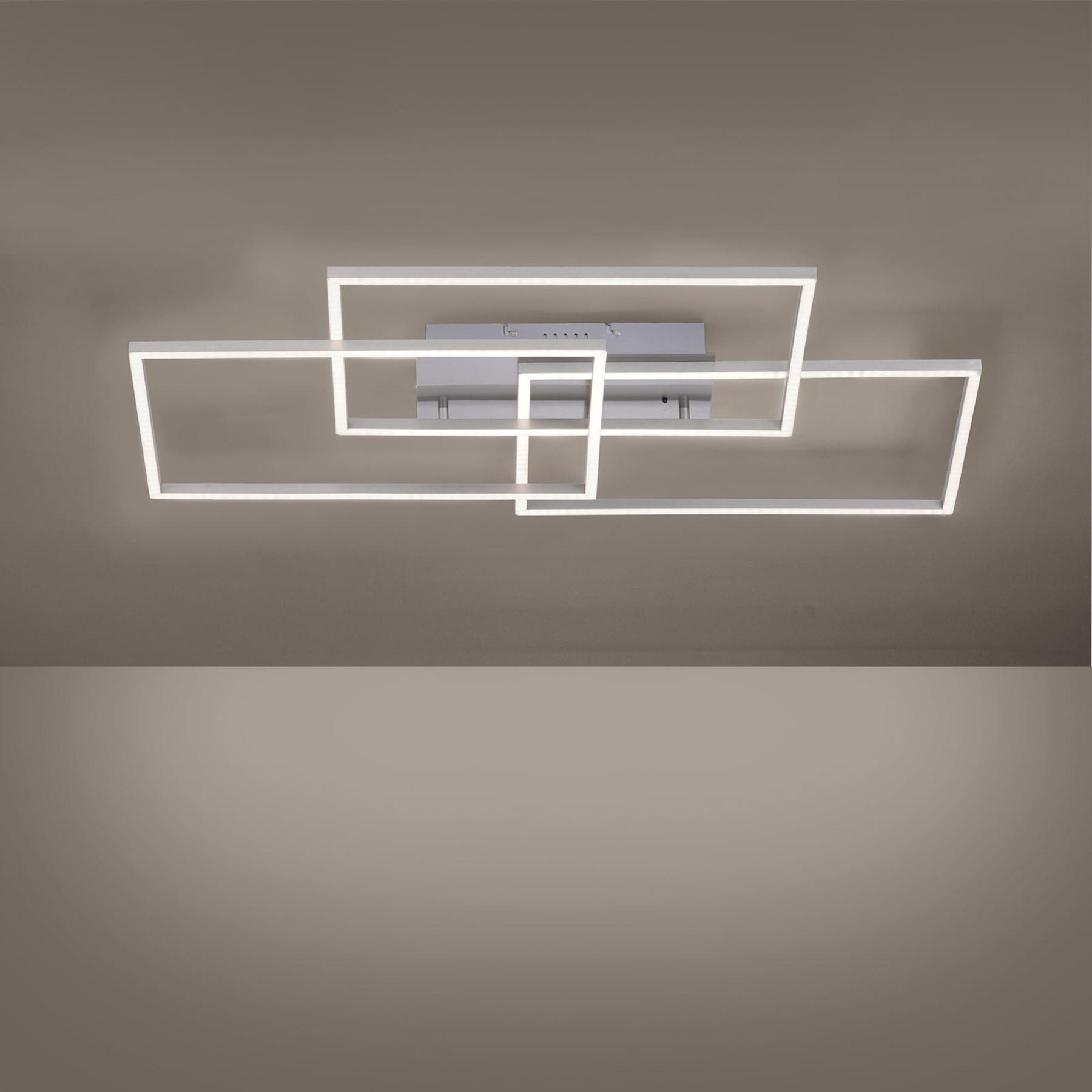 LED-Deckenleuchte Iven, stahl, 3-flammig, Rechteck