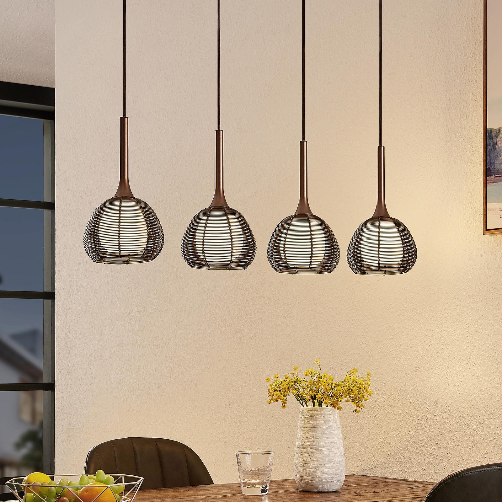 Lucande Tetira hængelampe, 4 lyskilder, lang, brun