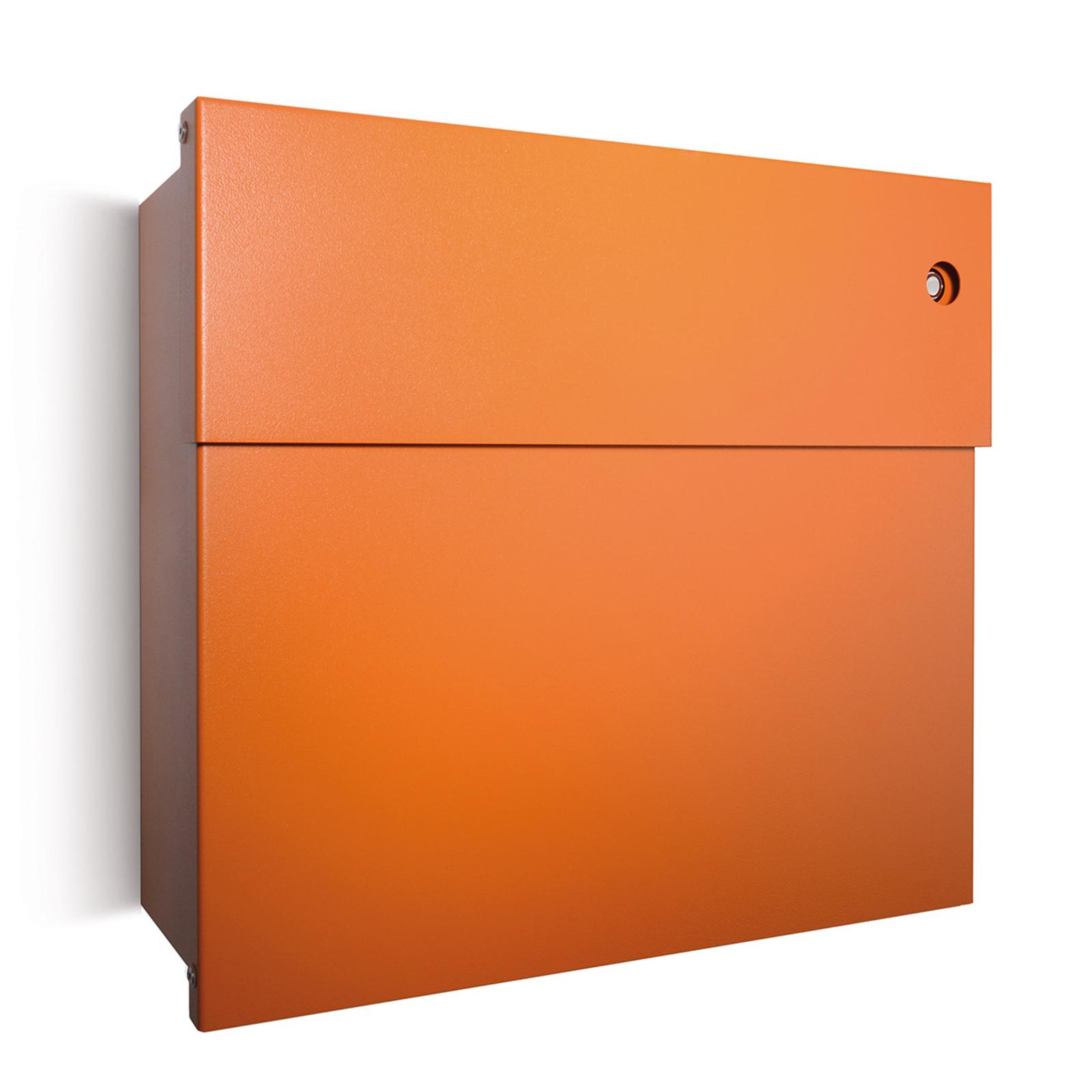 Letterman postkasse IV, rød klokke, orange