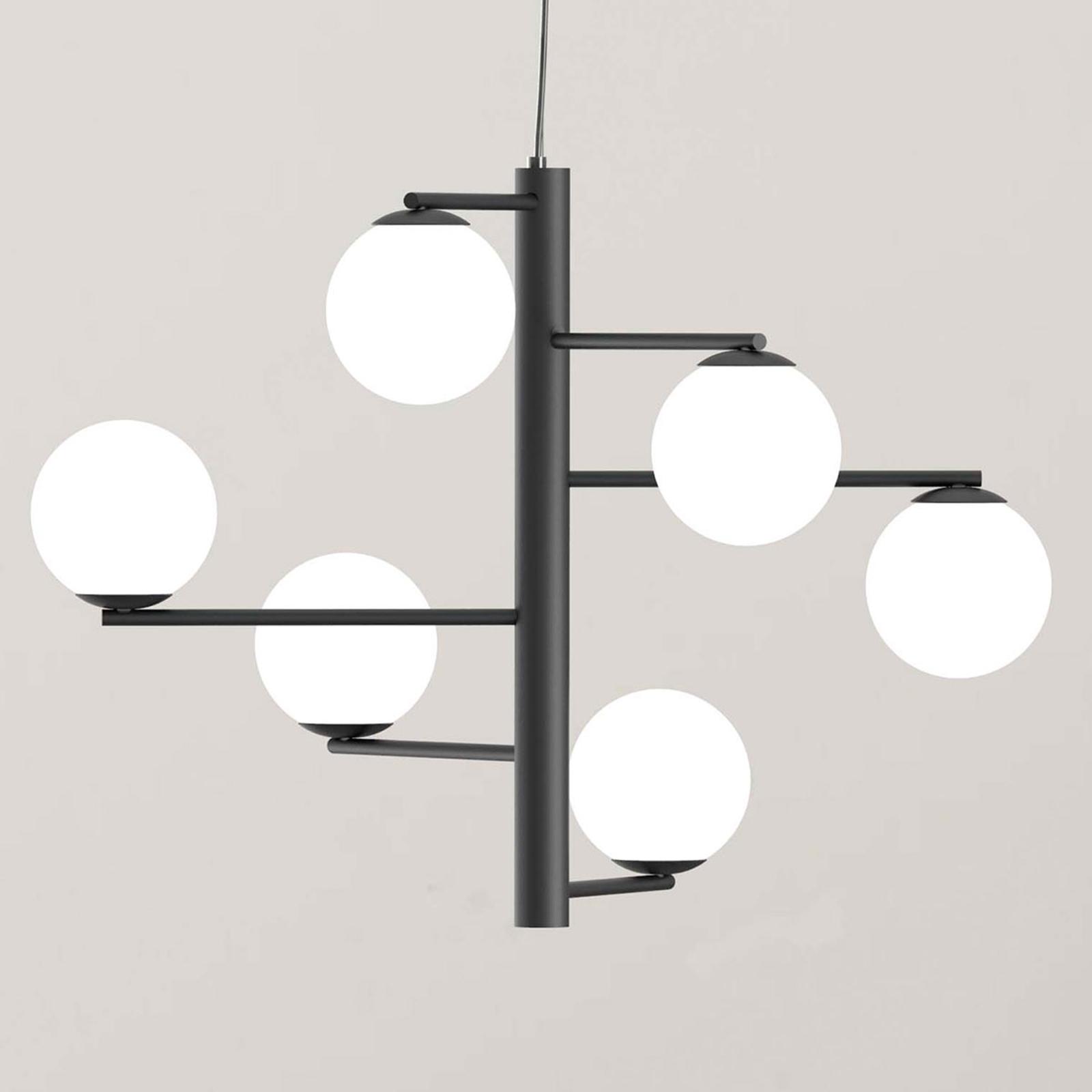 Hanglamp Tin Tin 6-lamps zwart