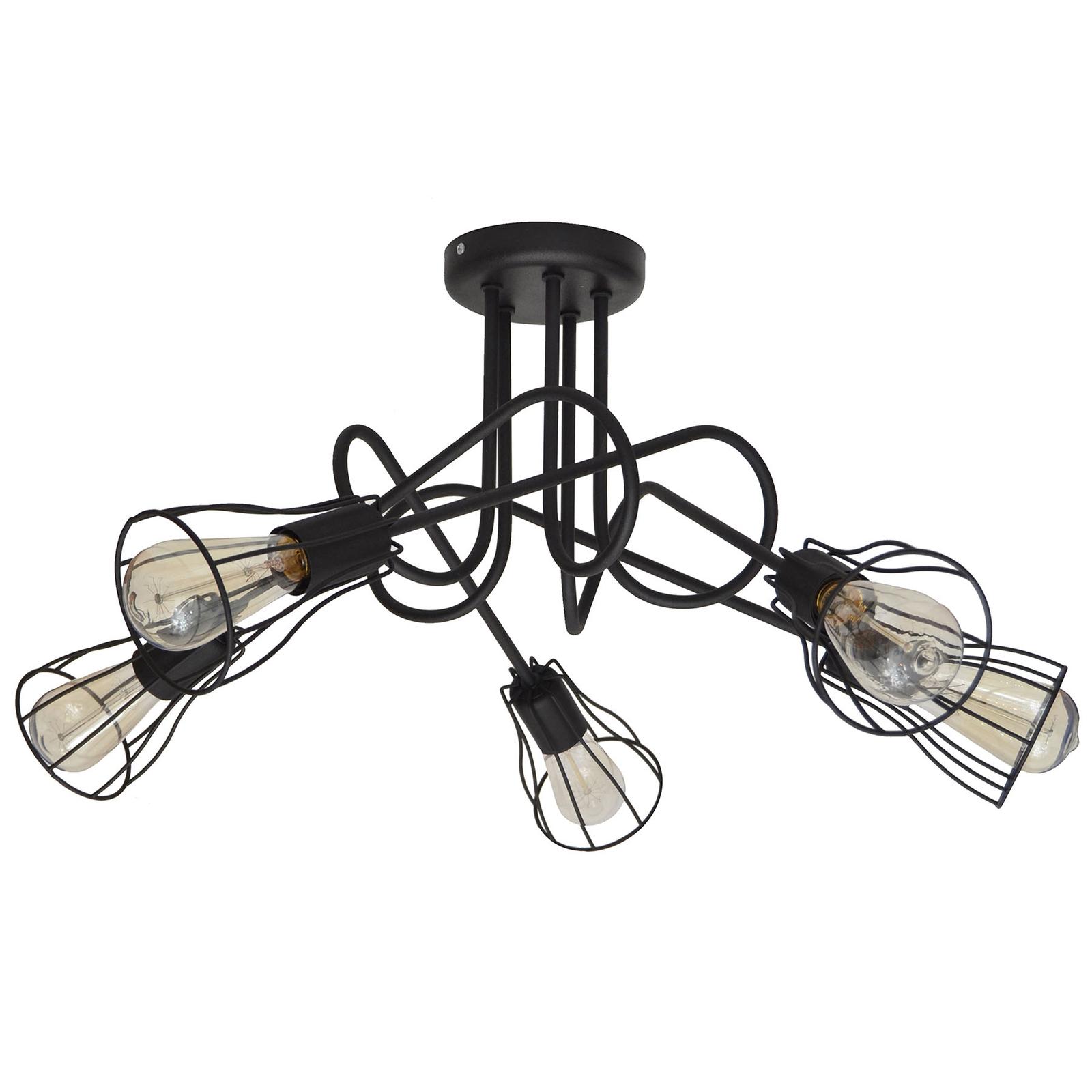 Deckenlampe Oxford 5fl. mit Käfigschirmen schwarz