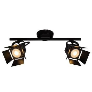 LED spot loftslampe Movie med 2 lyskilder, sort