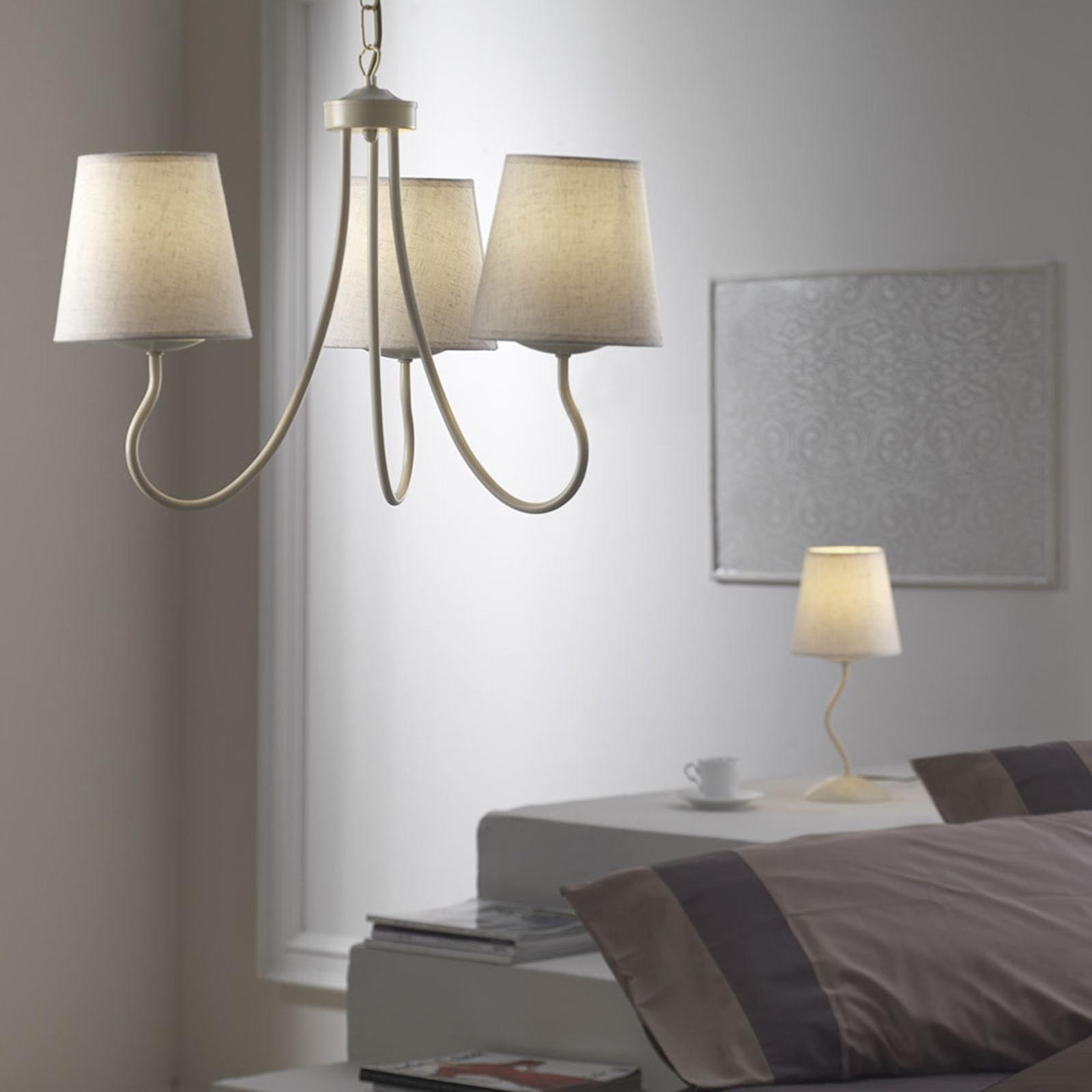 Lampa wisząca Margot trzy klosze z tkaniny biała