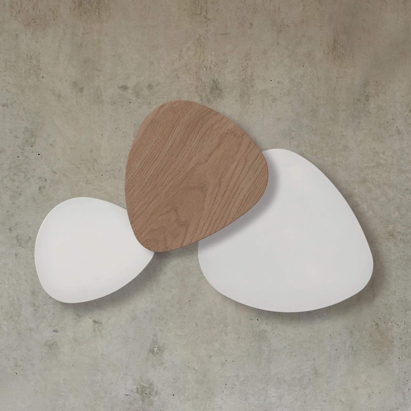 Bover Tria Set 3 LED-Wandleuchte, weiß-eiche-weiß