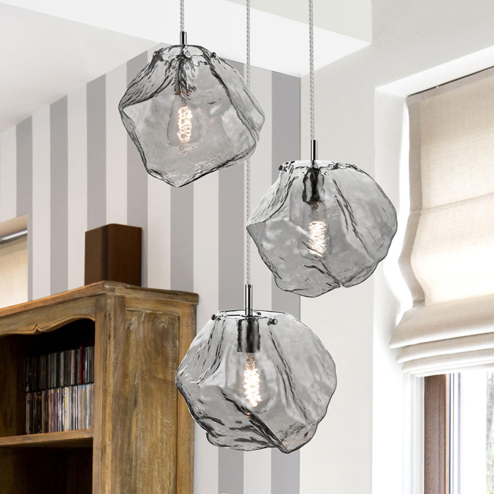 Lampa wisząca LED Petra ze szkła, 3-pkt. okrągła