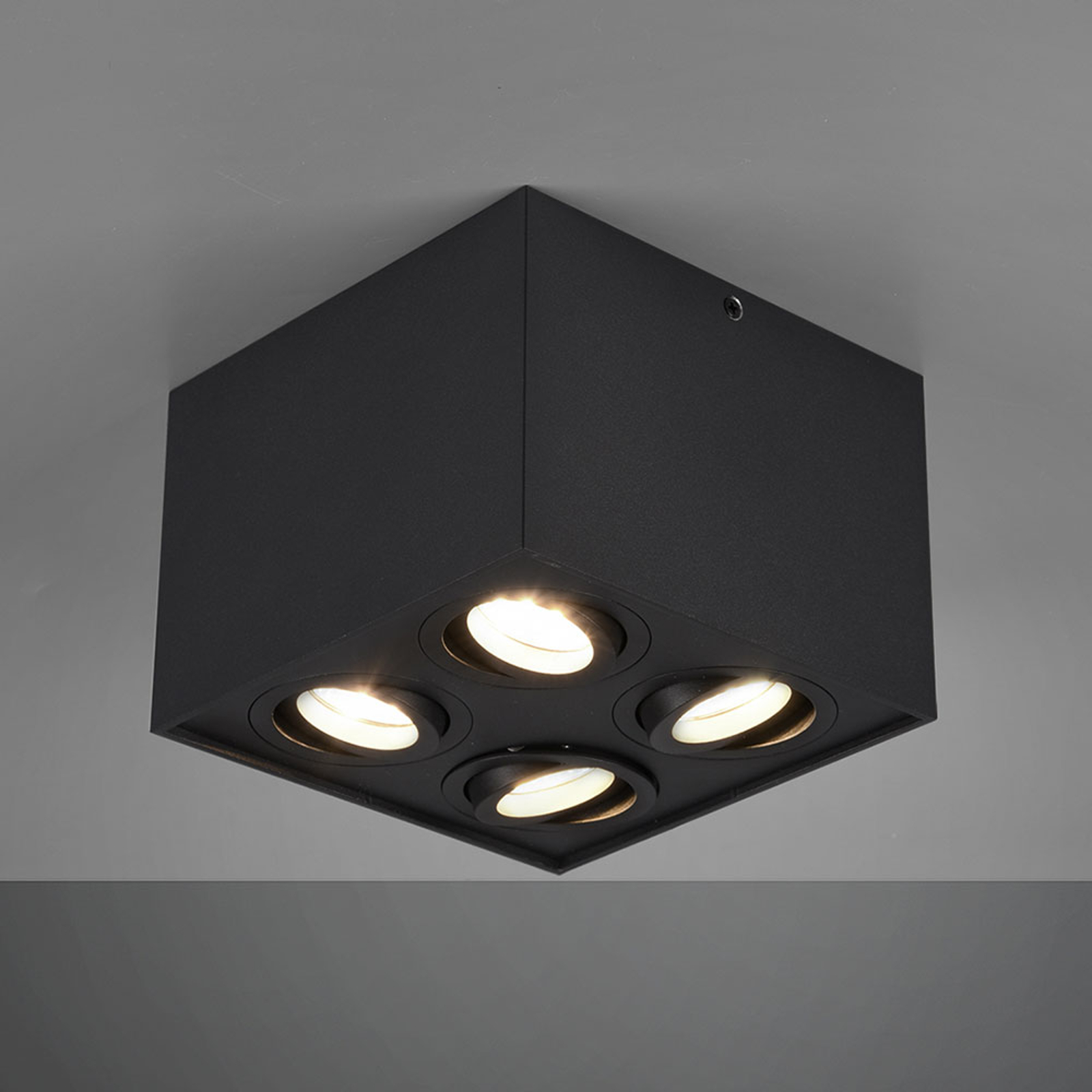 Plafondlamp Biscuit, 4-lamps, zwart
