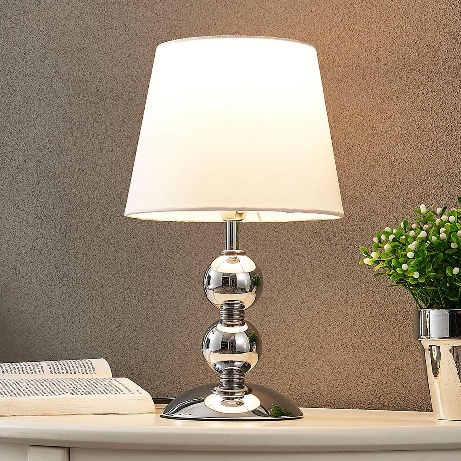 Elegant LED-bordslampa Minna i satin-look