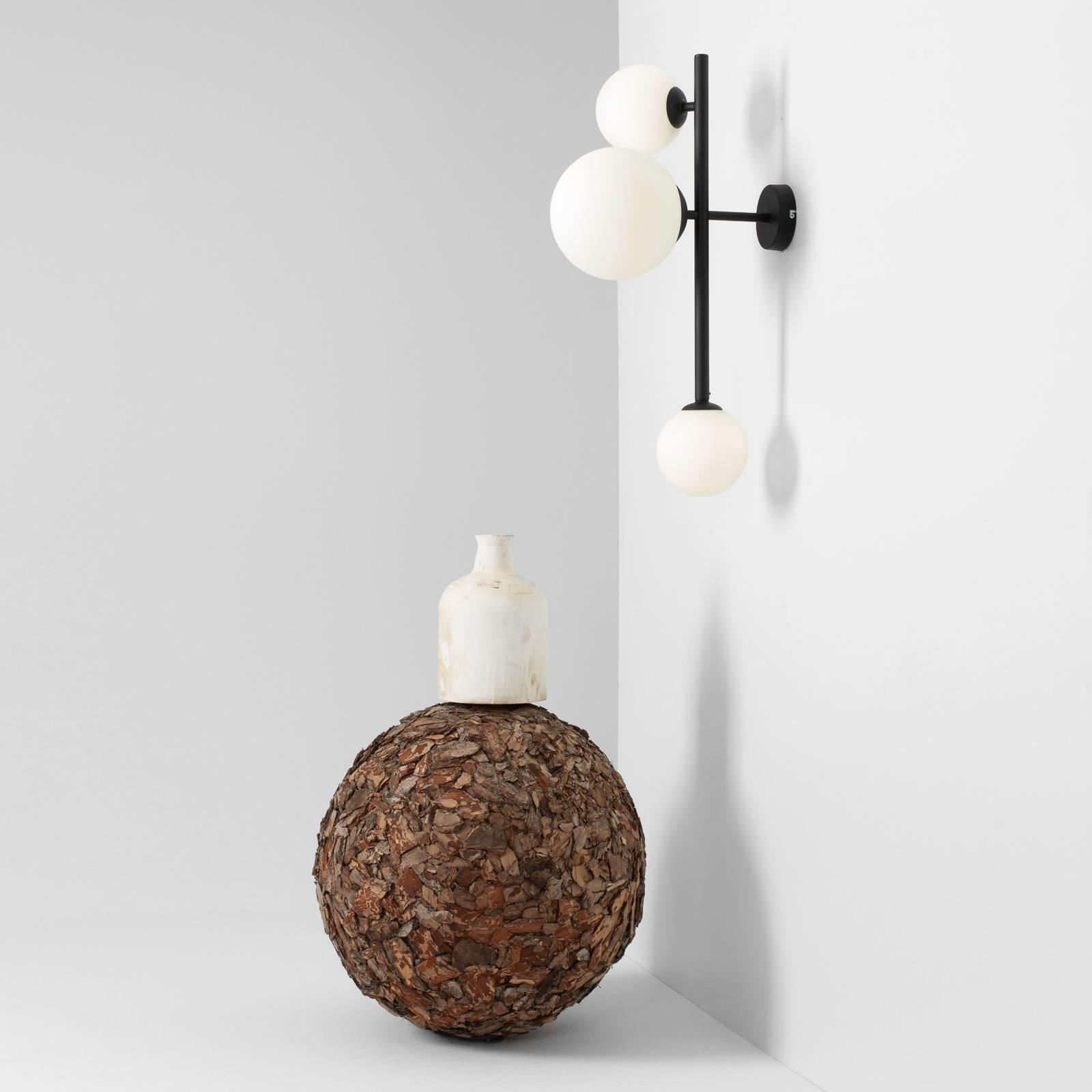 Applique Dione à trois lampes, noire