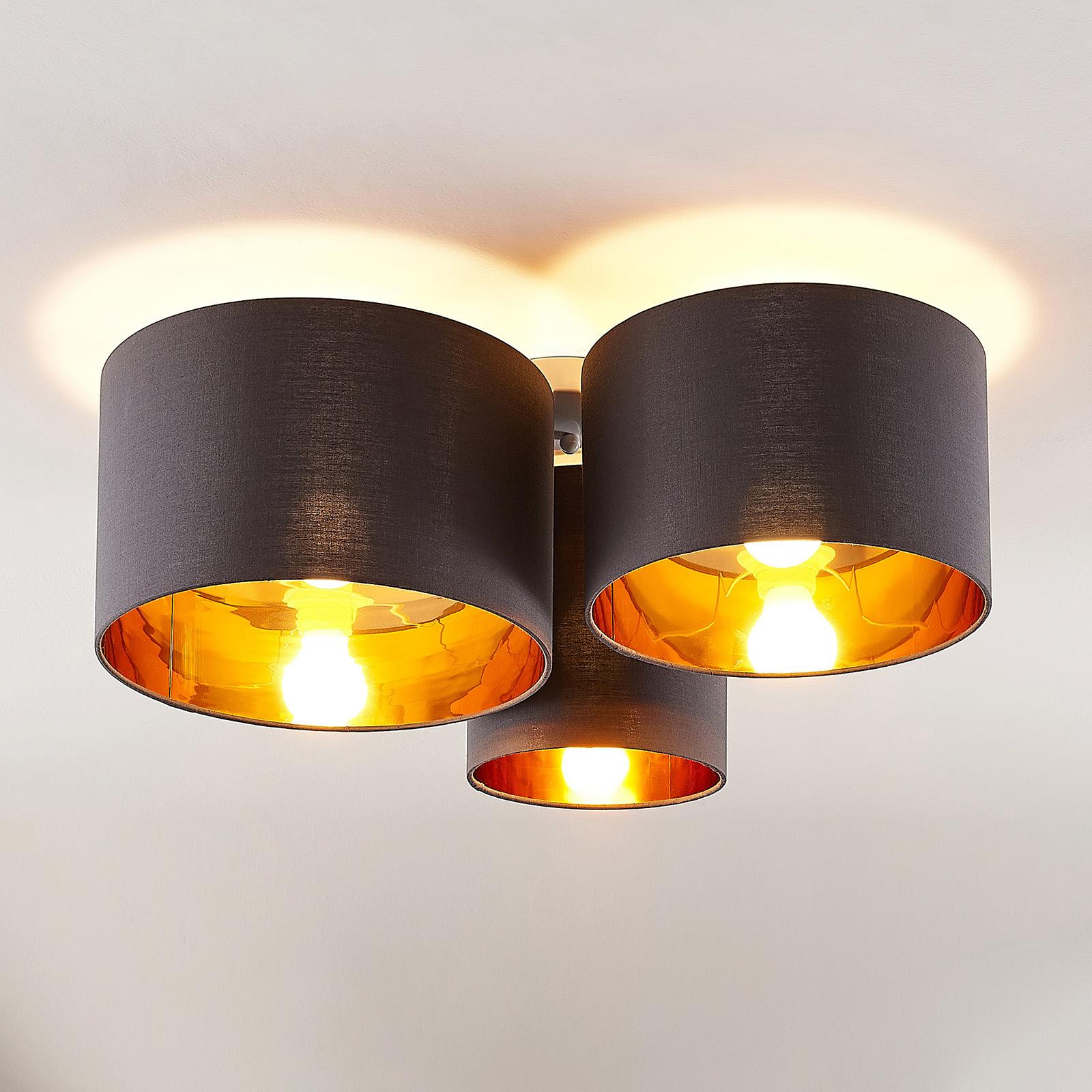 Lindby Laurenz taklampe, 3 lyskilder, grå-gull