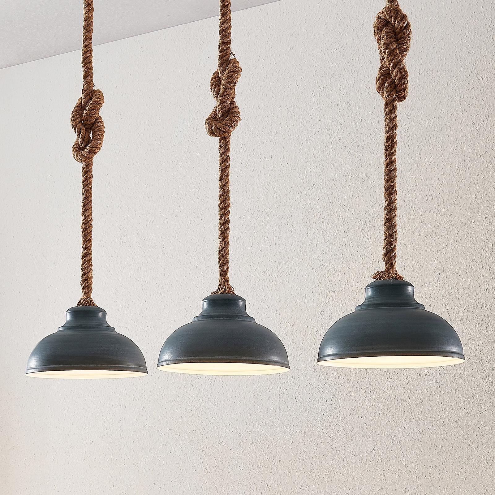 Lindby Chaby hengelampe i betongstil, 3 lyskilder