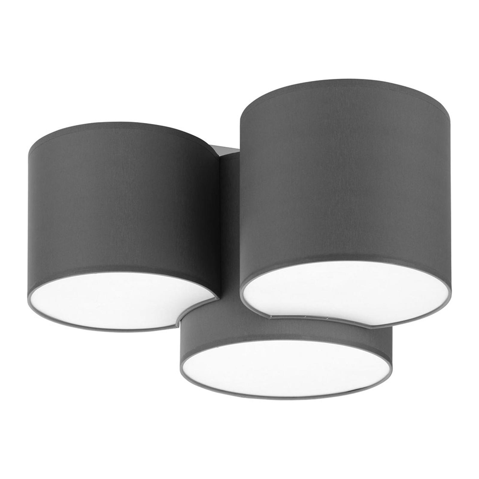 Taklampe Mona, 3 lyskilder, grå