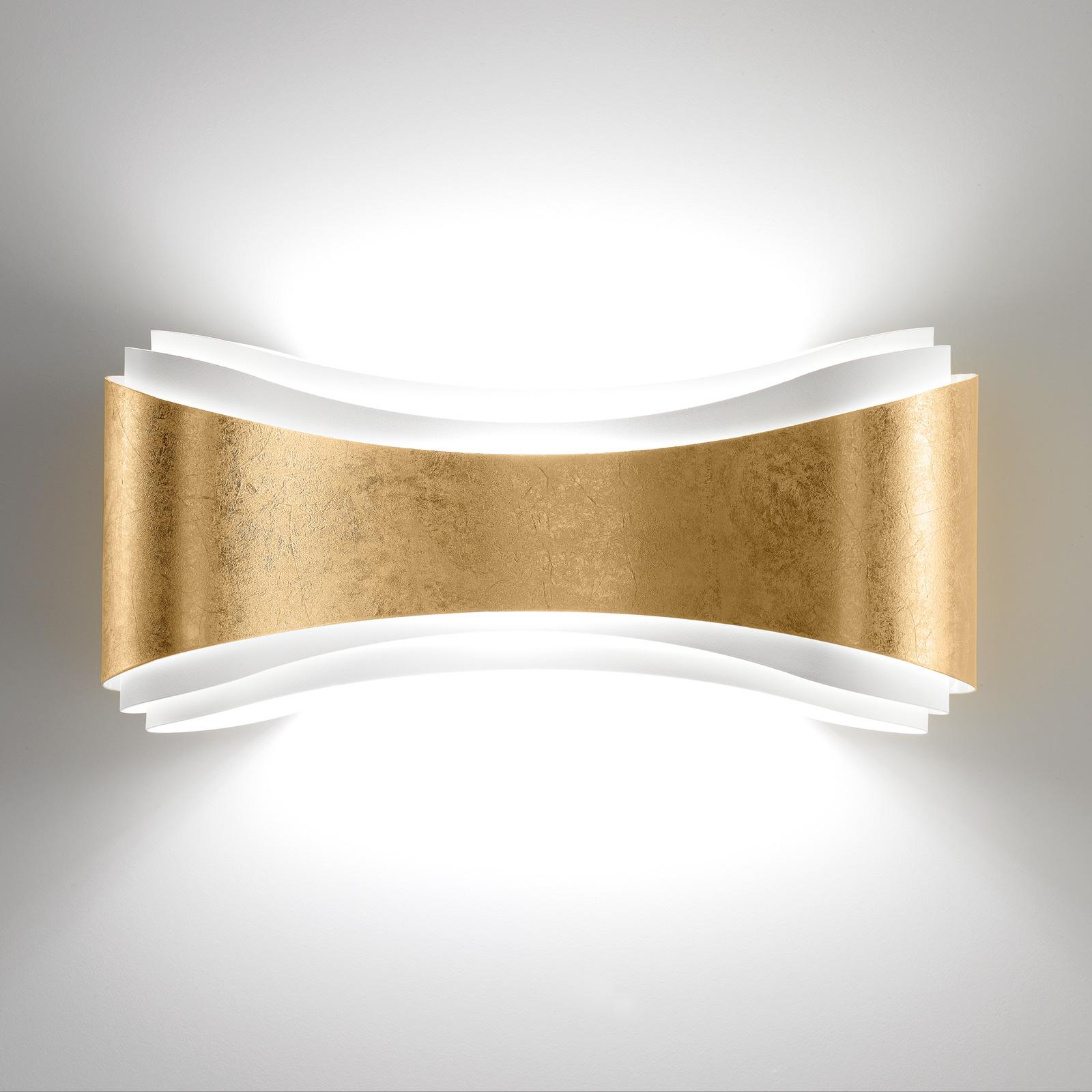 LED wandlamp Ionica van staal met bladgouddecor