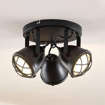 Lindby Biona LED-Deckenspot mit Goldring, 3-fl.