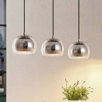 Lindby Daymien sospensione, 3 luci, cromo