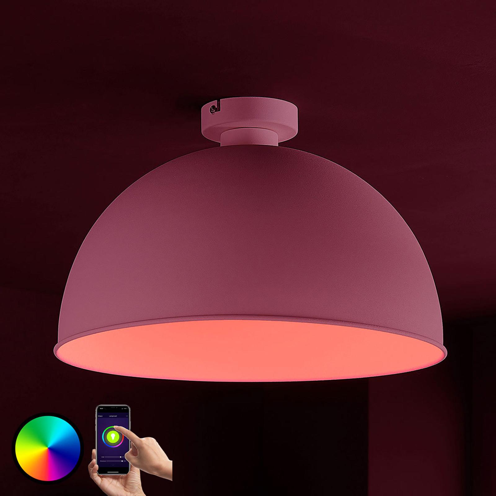 Lindby Smart LED-taklampe Bowl 41cm sølv