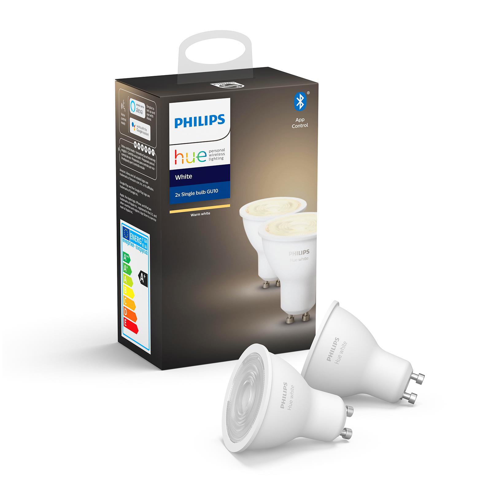 Philips Hue White 5,2 W GU10 LED-Lampe, 2er-Set