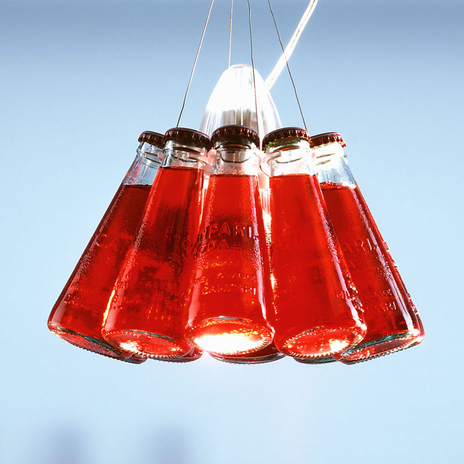 Campari Light - lampa wisząca z butelkami Campari
