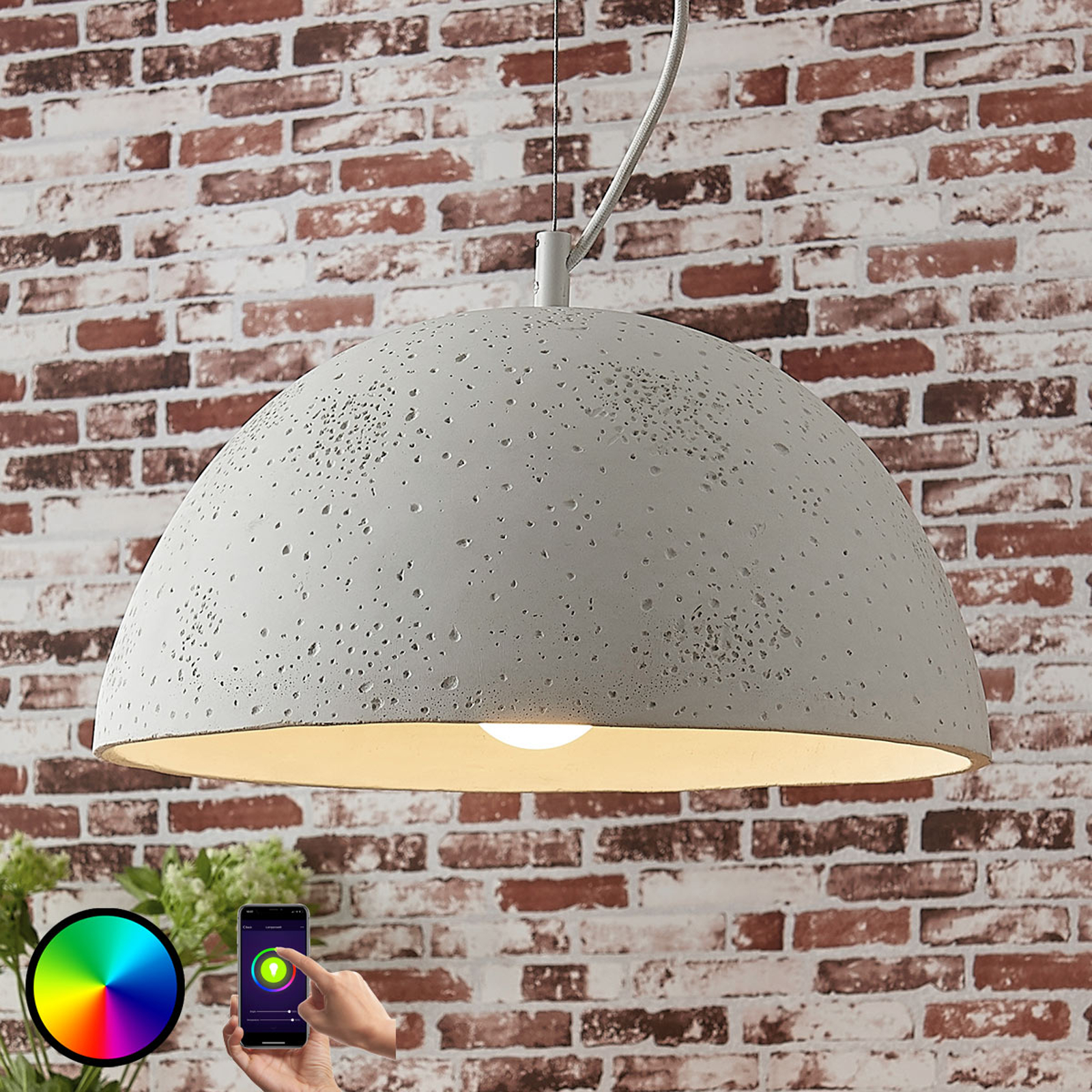 Lindby Smart betoniriippuvalaisin Carolle, RGB-LED
