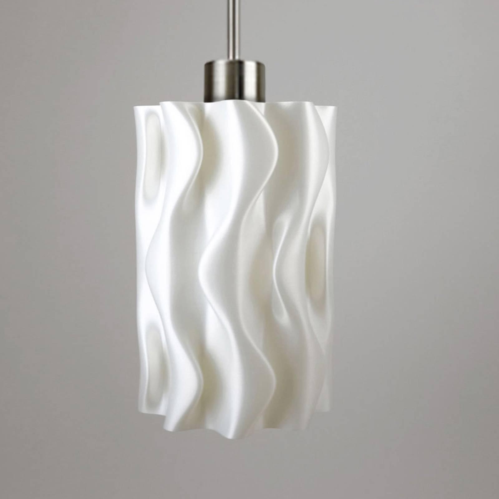 Lampa wisząca Amöbe, druk 3D, biała