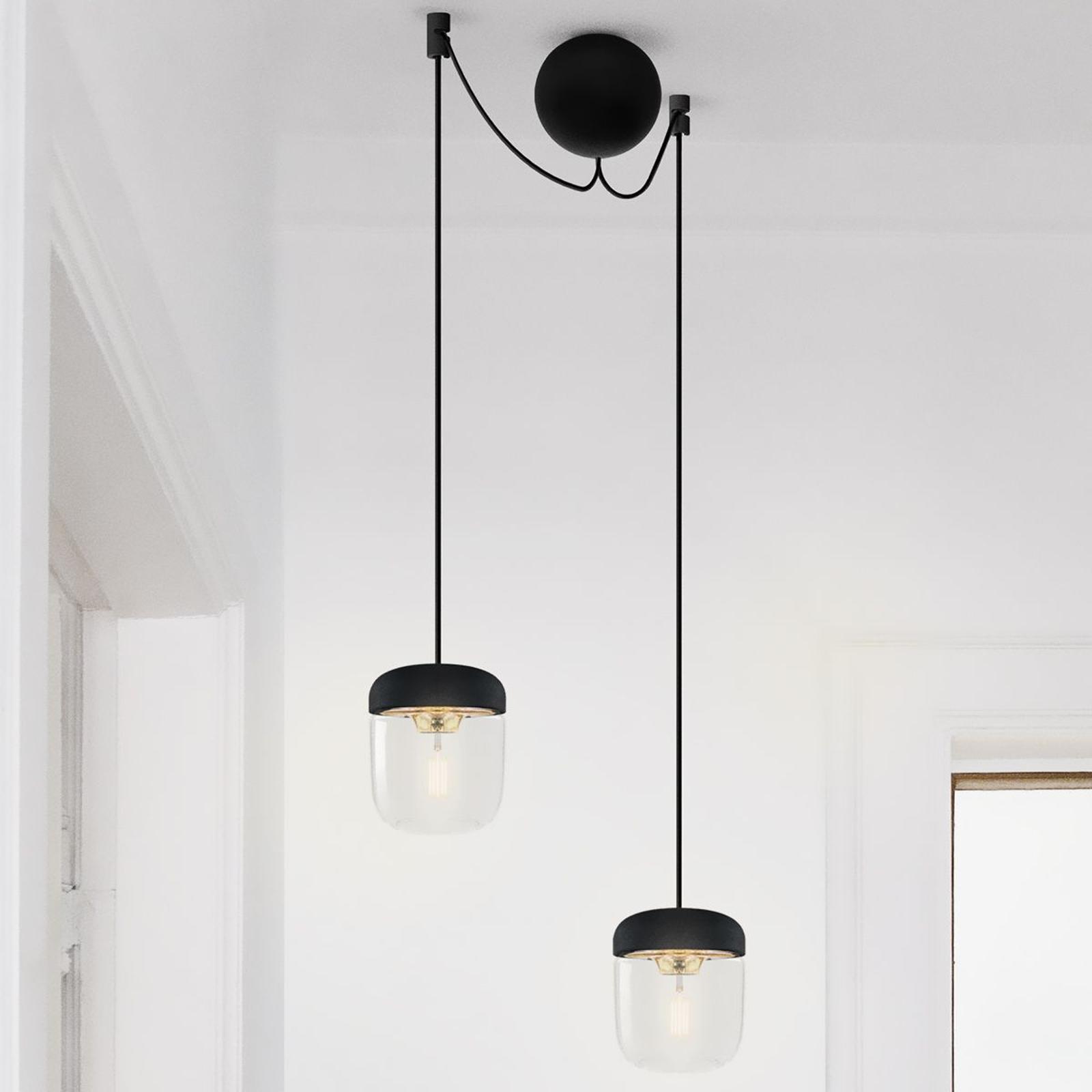 Designerska lampa wisząca Acorn, czarny i mosiężny