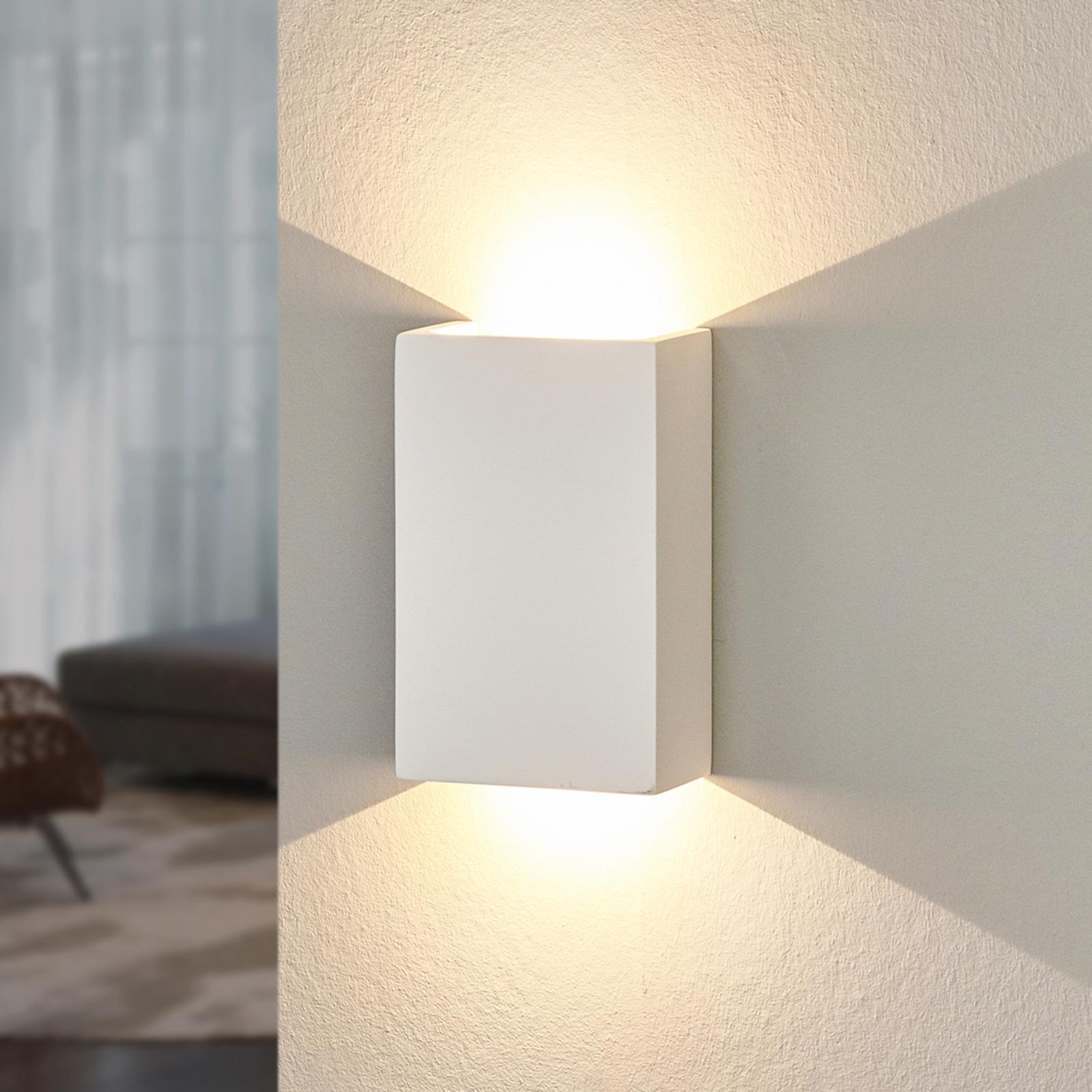 LED wandlamp Fabiola van gips, hoogte 16 cm