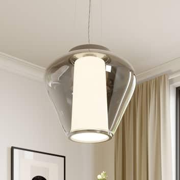 Rookglazen hanglamp Lorit met witte binnenkap