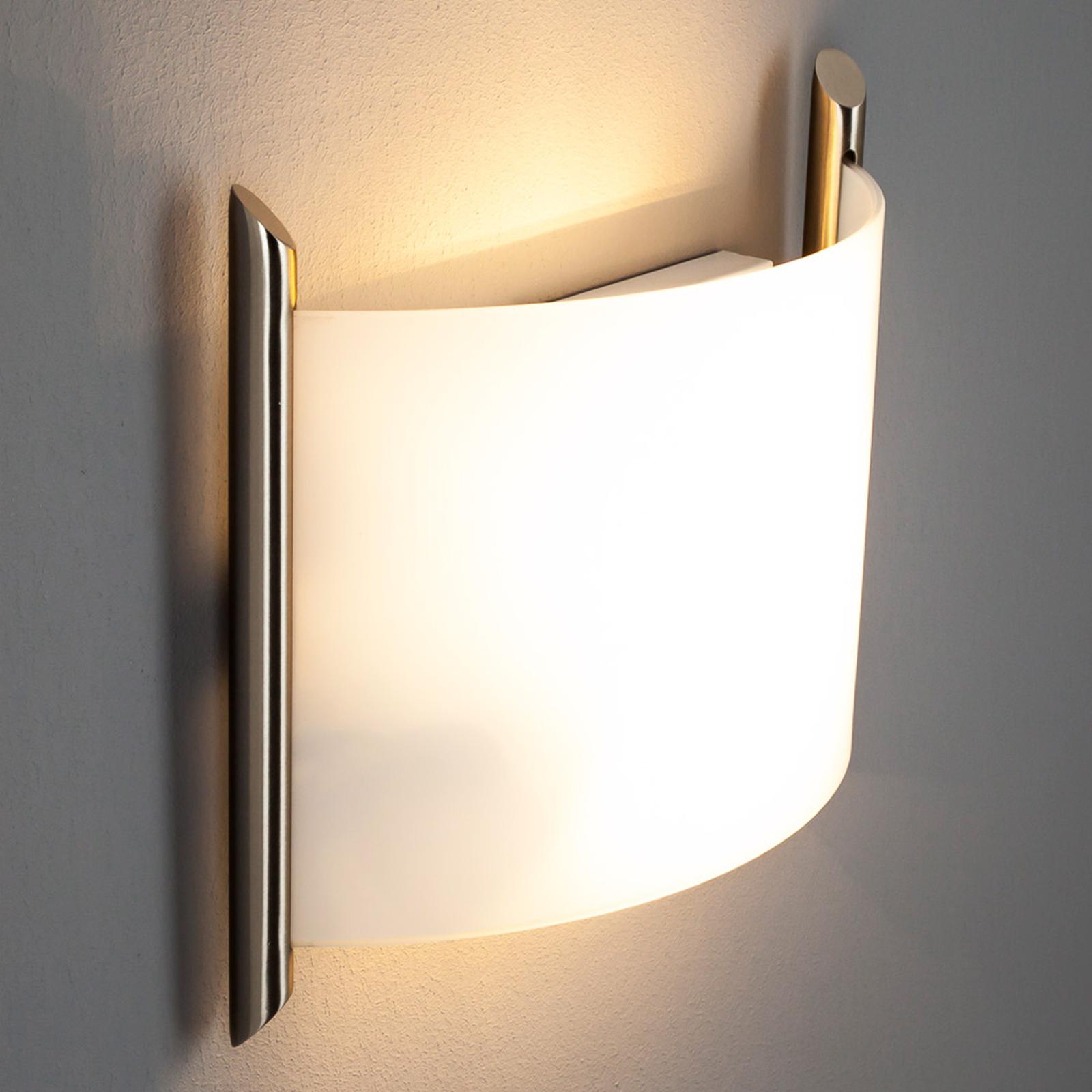 Wandlamp Filippa, 31 cm, nikkel gesatineerd