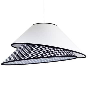 Textilní závěsné světlo Coco, bílé vzor Pepita
