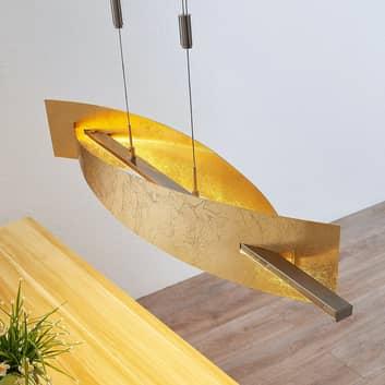 Suspension LED Marija, cache vertical, doré